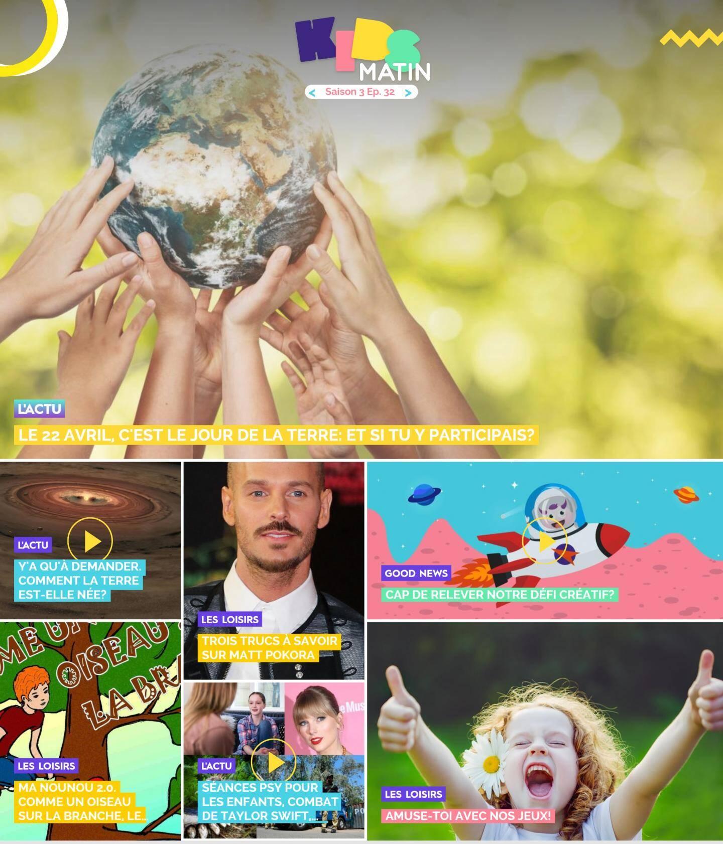 La page d'accueil de kidsmatin.com ce mercredi 21 avril.