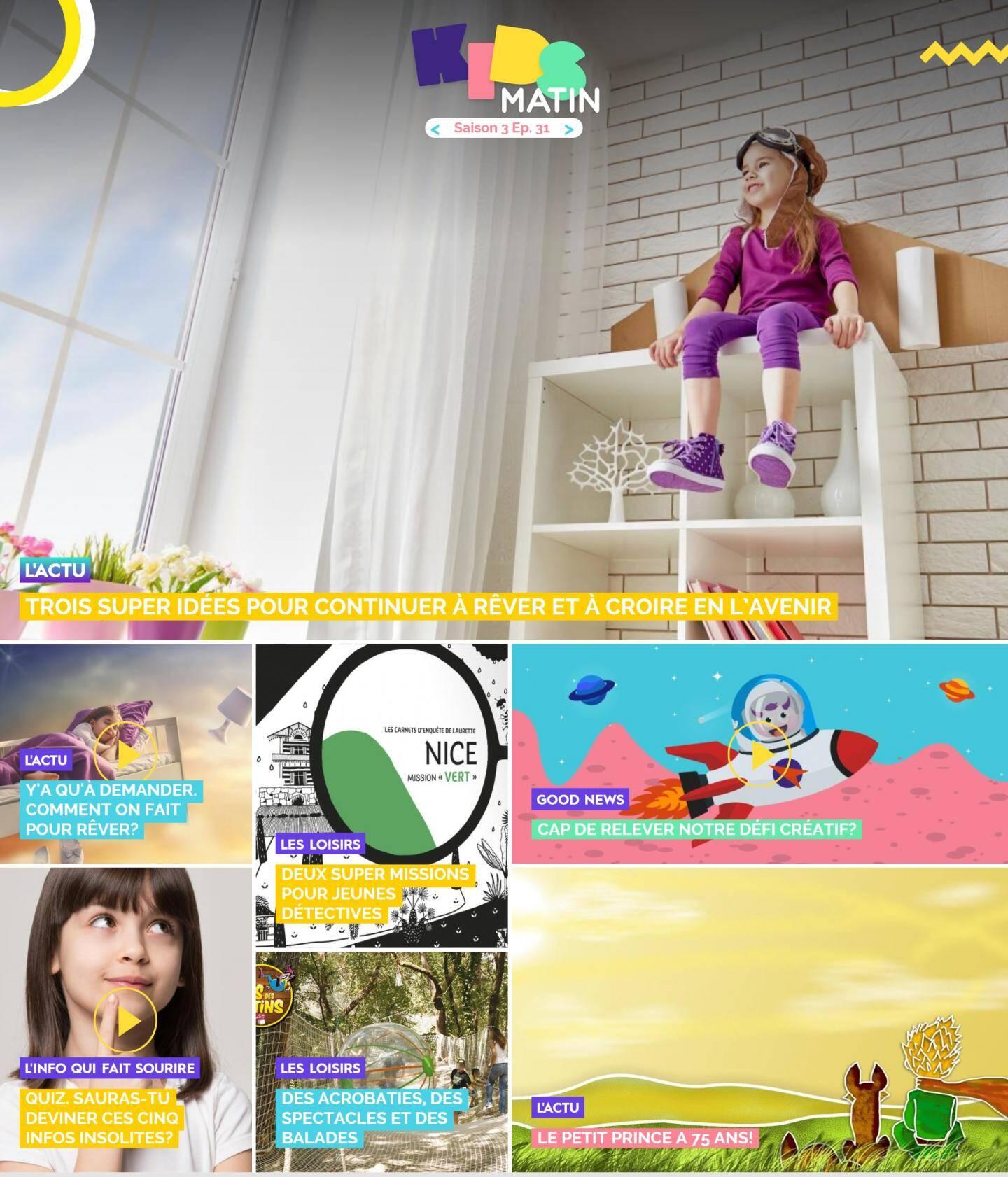 La page d'accueil de Kidsmatin.com ce mercredi 14 avril.