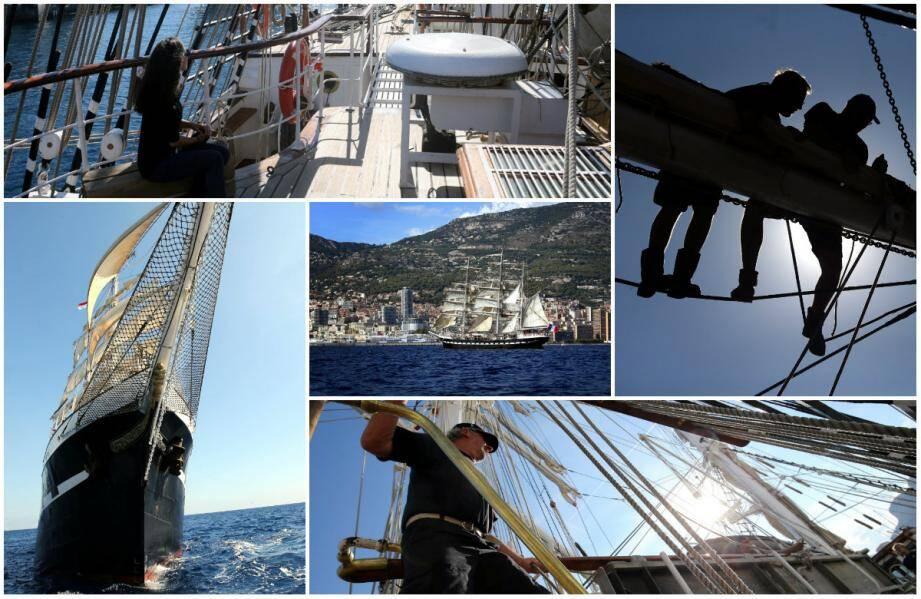 Parti de Nice hier matin, le trois-mâts a vogué paisiblement jusqu'aux côtes mentonnaises avant de s'établir au large de Monaco à l'heure du déjeuner.