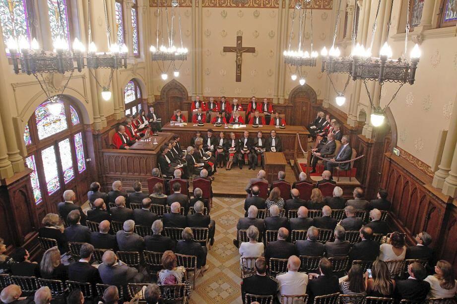 Les représentants du système judiciaire monégasque réunis hier matin pour l'audience solennelle  de rentrée des cours et tribunaux.