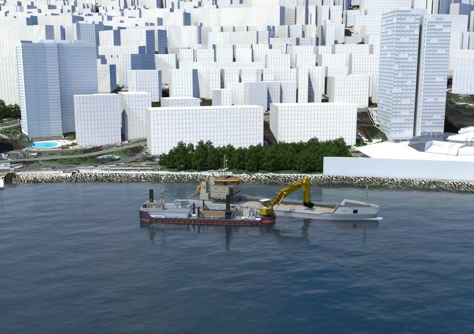 Début avril, le Mimar Sinan mouillera dans la baie monégasque. Cette immense barge flottante est équipée d'une grue pour permettre la préparation des fonds marins.