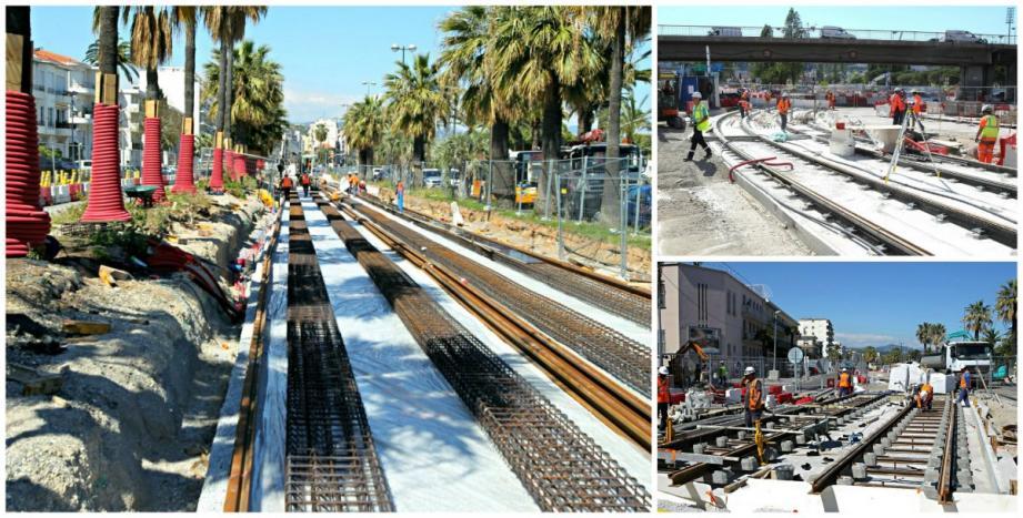 Le chantier du tramway à Nice-Ouest.