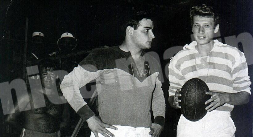 Michel Maiffret avec Johnny, après un entraînement de rugby.