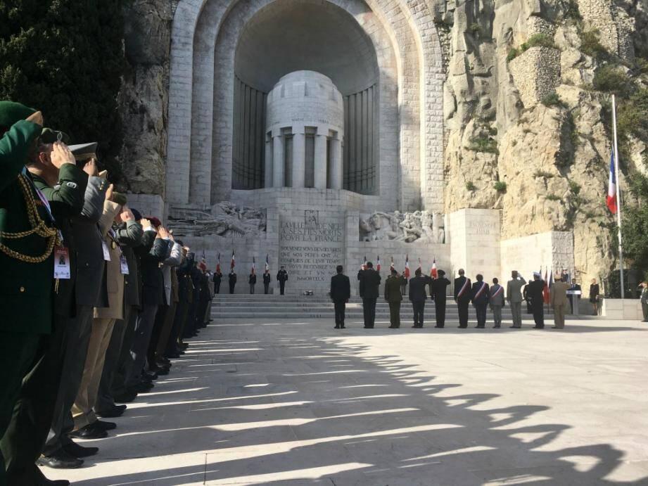 La cérémonie célébrant le 70e anniversaire de la création du CISM, dimanche à Nice.