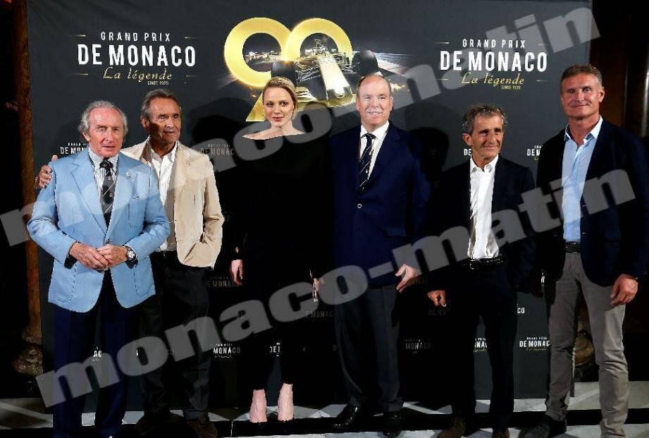 Le couple princier a assisté ce mercredi soir à l'avant-première en présence notamment de Jackie Stewart, Jacky Ickx, Alain Prost et David Coulthard, ainsi que de l'équipe du film.