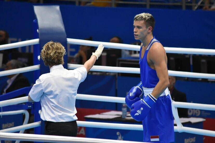 Hugo Micallef (en bleu) aux Jeux européens contre le Slovaque Thomas Zoldt, en juin dernier. (DR)
