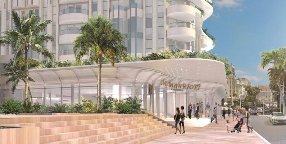 Le futur JW Marriott avec une visibilité réhaussée contraste avec le bâtiment tel qu'il est aujourd'hui