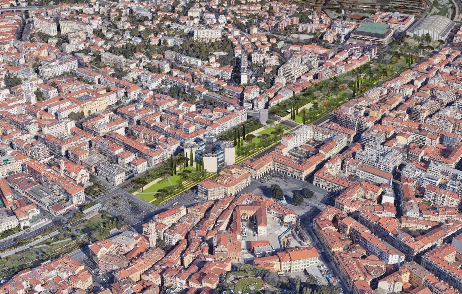 A gauche, voici ce à quoi ressemblerait la promenade du Paillon, une fois Acropolis et le TNN démolis. A droite, le secteur Acropolis tel qu'il se présente aujourd'hui (en bas) et sans le palais (en haut), ne reste que la Tête Carrée, la bibliothèque.(DR)