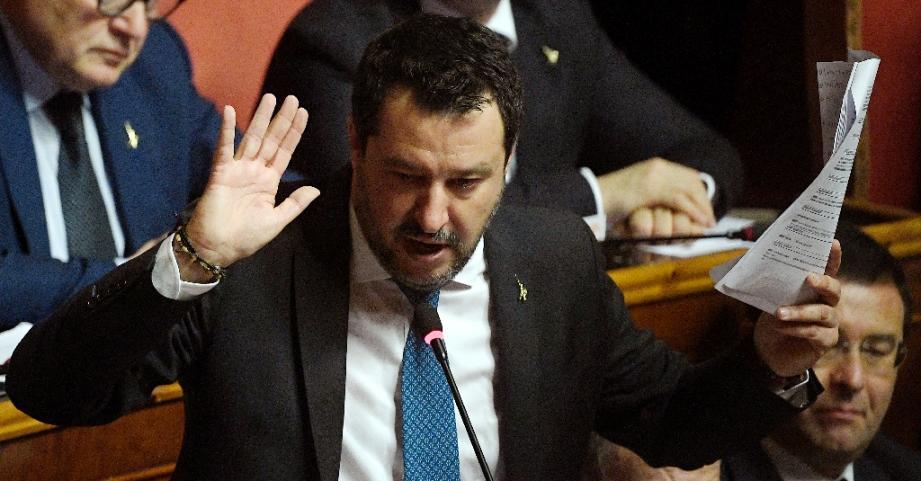 Le chef de l'extrème droite italien Matteo Salvini s'exprime lors d'une allocution au Sénat le 12 février 2020.