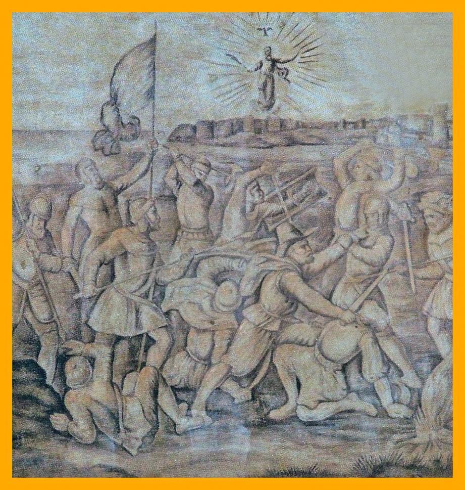 Panneau à fresque sur la façade de la chapelle Palatine : apparition de sainte Dévote sur les Remparts assiégés par les Génois 1507.