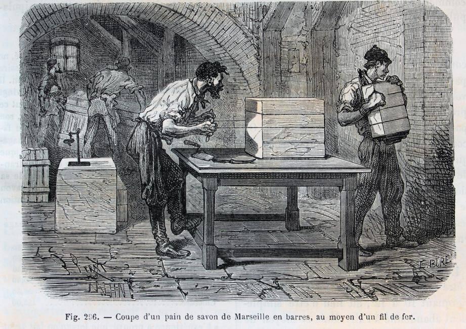 Illustration ancienne d'une savonnerie.