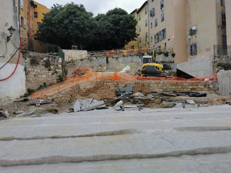 L'emplacement du futur escalier monumental