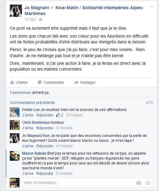 Copie écran Facebook