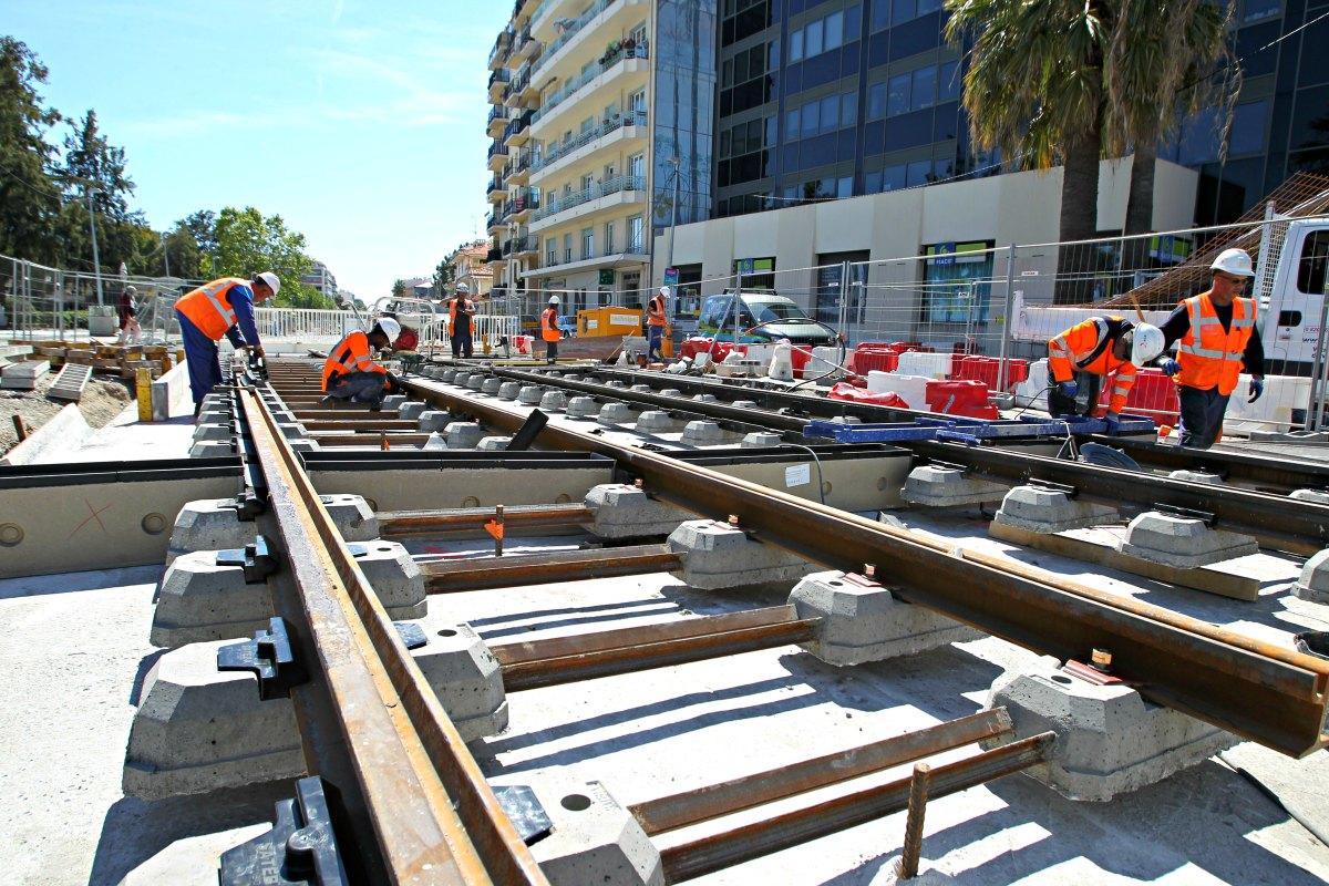 Le chantier du tramway, boulevard René-Cassin.