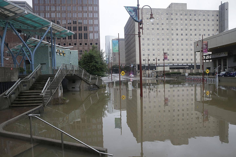 Le quartier des théâtres à Houston, noyé sous les eaux.