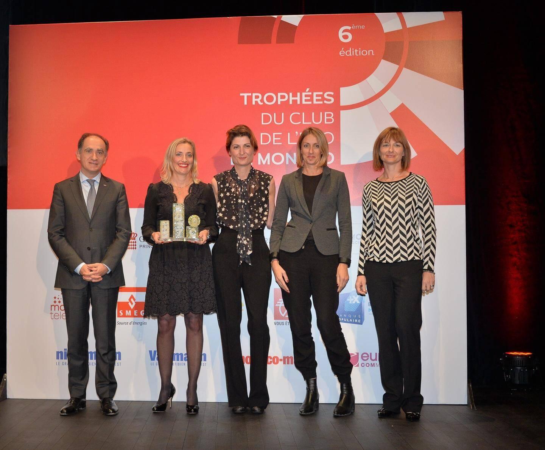 Au nom des équipes de Coty Lancaster, la directrice Marketing International Cécile Gautier-Gasbarian a reçu le trophée des mains de Jean Castellini, conseiller de gouvernement-ministre des Finances.