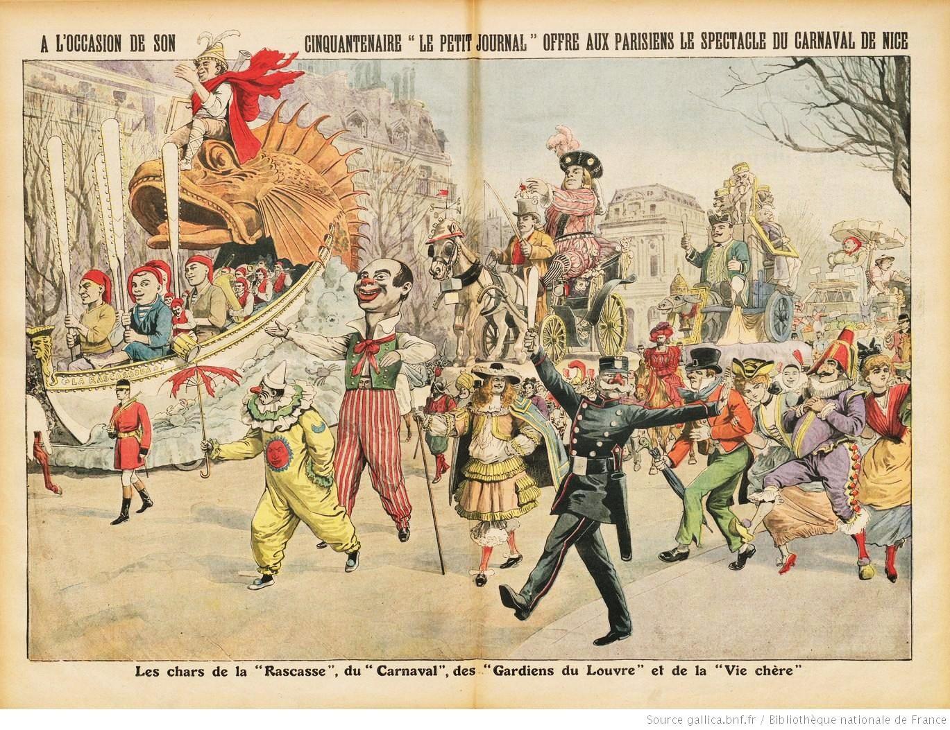 Les trois chars niçois de la Joconde défilent à Paris en 1912.