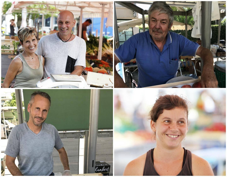 Thierry et Nathalie Verd, producteurs à Saint-Roch, Jean-François Audoly, primeur à la Libé, Eric Folco, producteur et revendeur à la Libé, et Elodie Poignon, productrice à Saint-Roch.