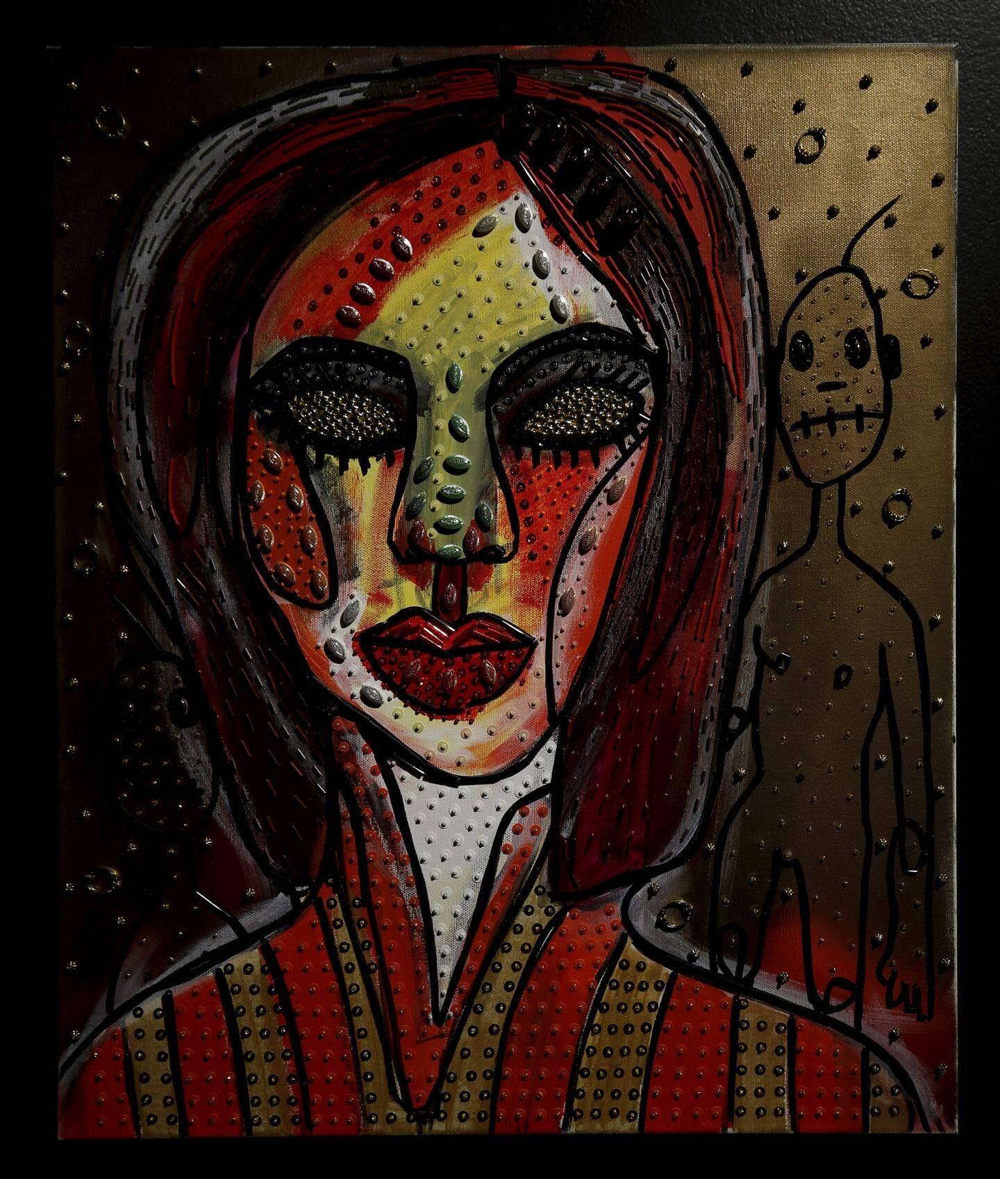 L'art abstrait de Boy George s'accompagne d'un travail autour de perles et de sequins.