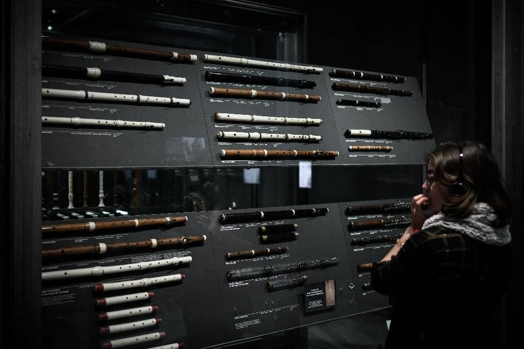 Des flûtes exposées au musée de la musique de la Philharmonie de Paris, le 17 janvier 2020
