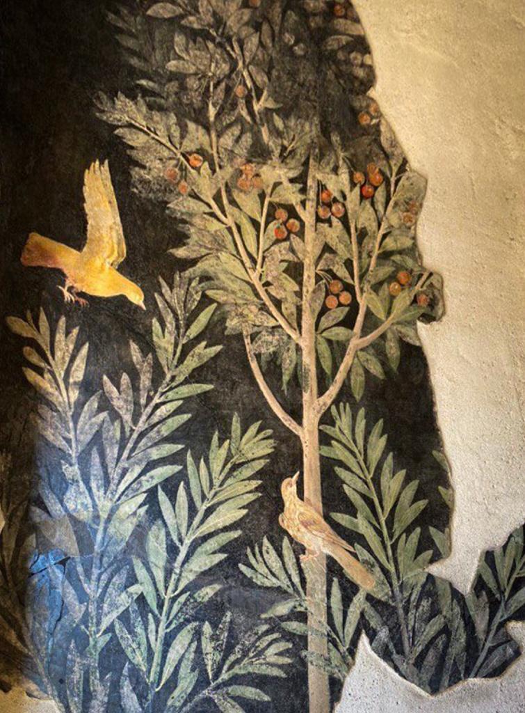 """Photo diffusée le 18 février 2020 par le site archéologique de Pompéi montrant une fresque à """"La maison du Verger"""" à l'occasion de sa réouverture au public"""