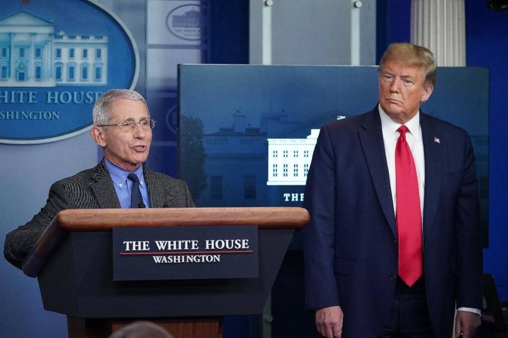 Le responsable de la cellule scientifique à la Maison Blanche Anthony Fauci s'exprime le 13 avril 2020 lors d'un point de presse du président Trump, depuis la Maison Blanche