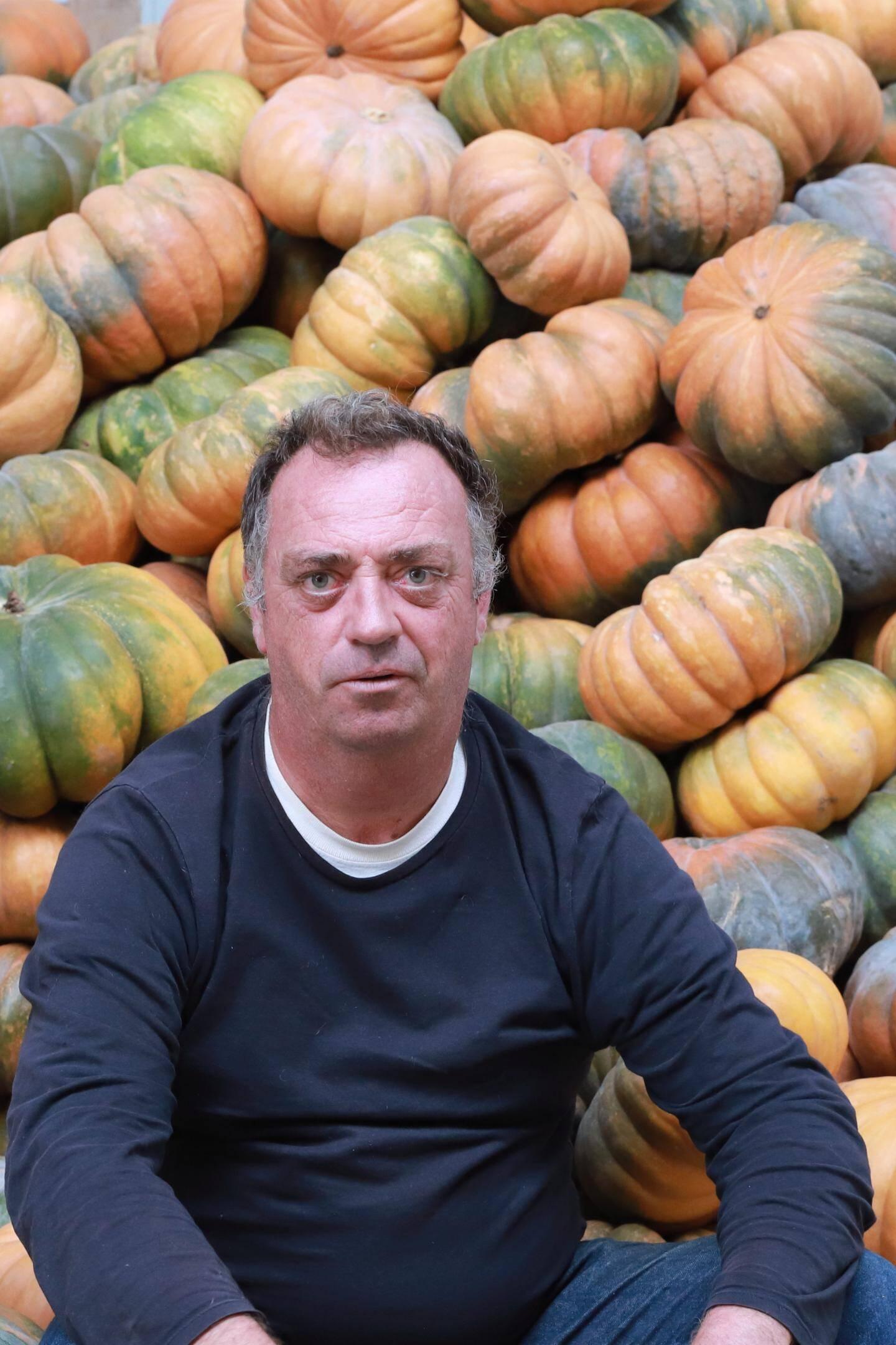 """Sur la totalité de sa production de cucurbitacées, Joël Maille compte l'année prochaine produire 50 % de courges muscades, """"pour répondre à la demande""""."""