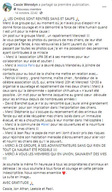 """Message publié par la propriétaire sur le groupe Facebook """"Tempête Alex - Les Animaux Perdus & Trouvés des vallées""""."""