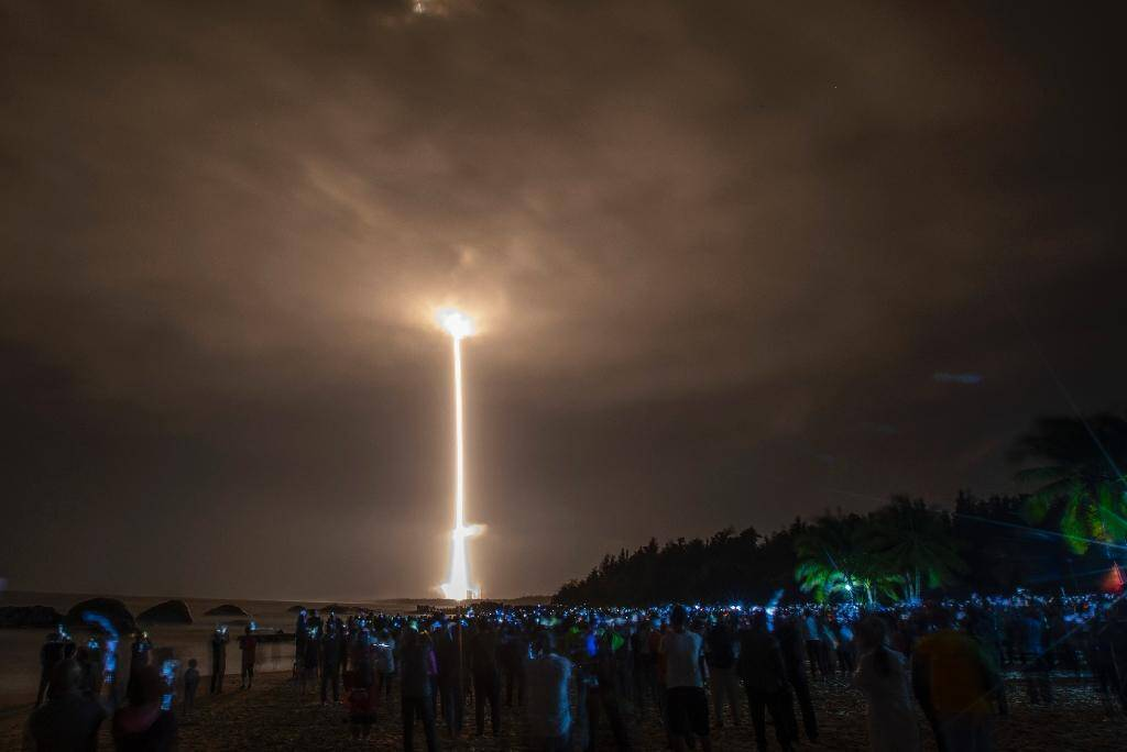 Décollage de la fusée Longue-Marche 5, transportant le module lunaire Chang'e-, du centre spatial de Wenchang, dans le sud de la Chine, le 24 novembre 2020