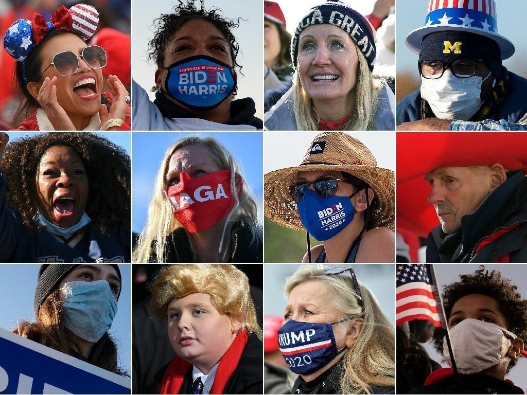 Des partisans de Donald Trump et Joe Biden dans des Etats-clés américains, entre le 29 et le 31 octobre 2020
