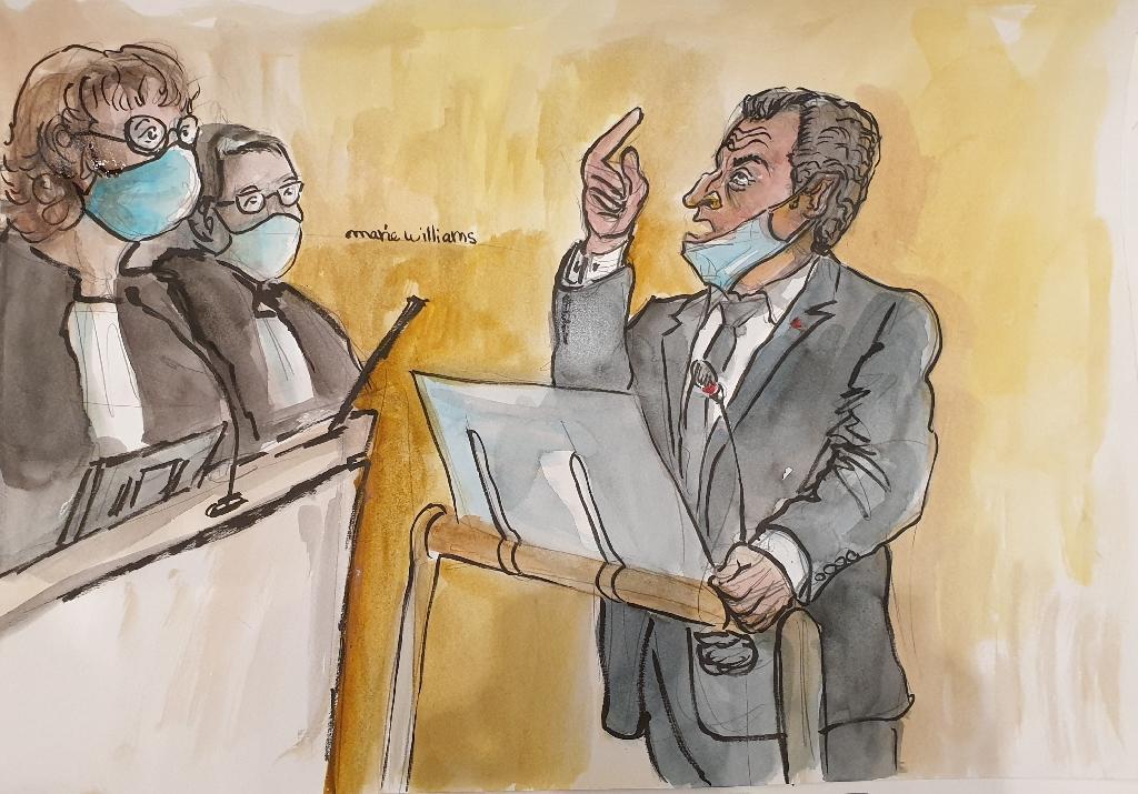 Crocquis d'audience de Nicolas Sarkozy lors du procès où il est jugé pour corruption et trafic d'influence, le 7 décembre 2020 à Paris
