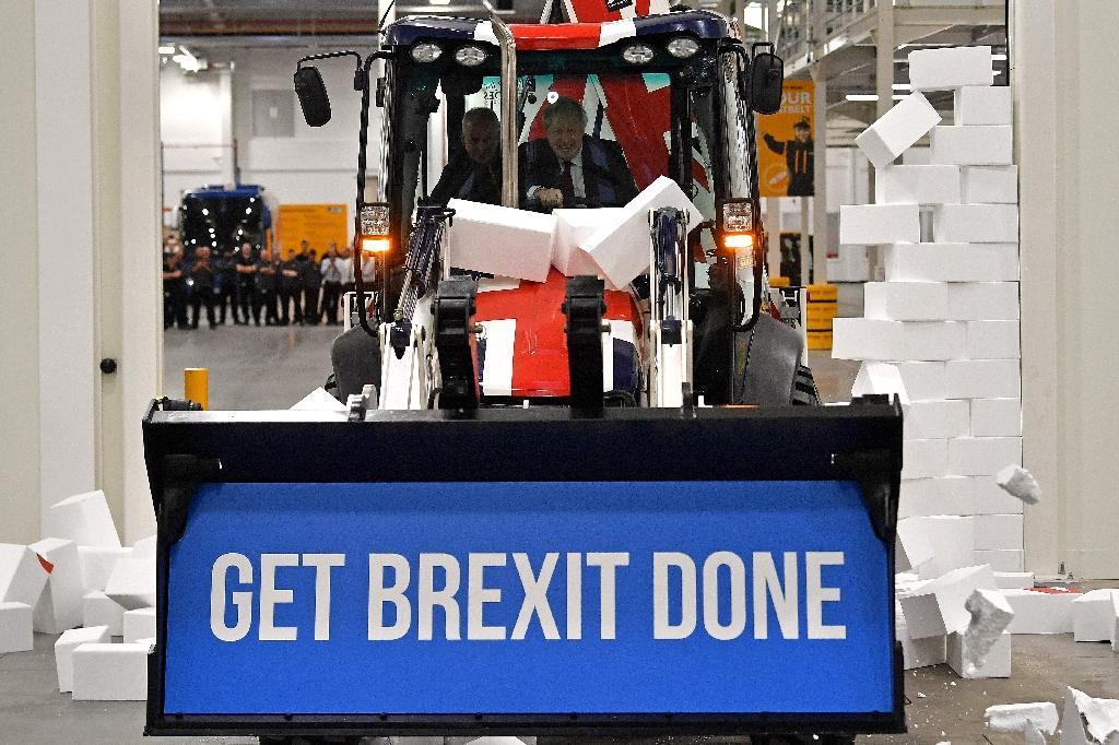 Boris Johnson participe à un événement pro-Brexit pendant sa campagne électorale à Uttoxeter, au Royaume-Uni, le 10 décembre 2019