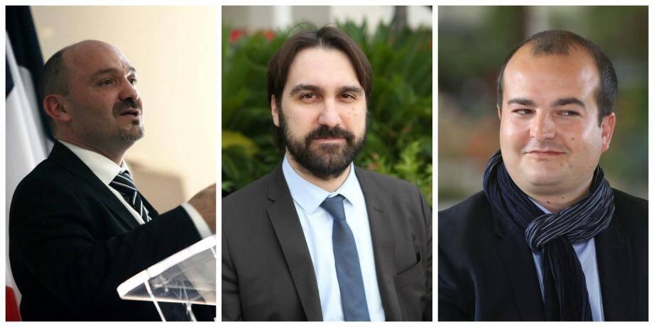 Frédéric Boccaletti (à gauche) a décidé d'exclure Nicolas Melnikowicz (au centre) sous le regard impassible de David Rachline.