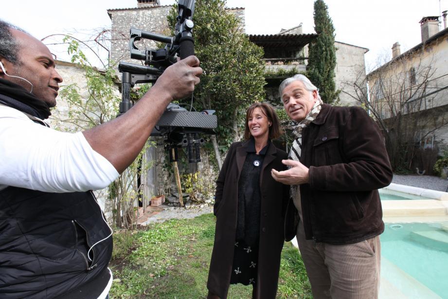 Le 8 mars dernier, lors du tournage à La Forge d'Hauterives, une maison d'hôtes à La Colle-sur-Loup.