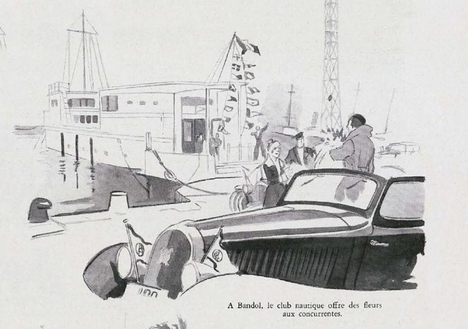 À Bandol, le club nautique offre des fleurs aux concurrentes.  L'arrivée à Saint-Raphaël, où une épreuve de freinage et de braquage est prévue.  Le Rallye automobile féminin Paris-Saint-Raphaël est l'occasion de montrer de quoi les femmes sont capables mais c'est aussi un défilé de mode.(© L'Illustration)