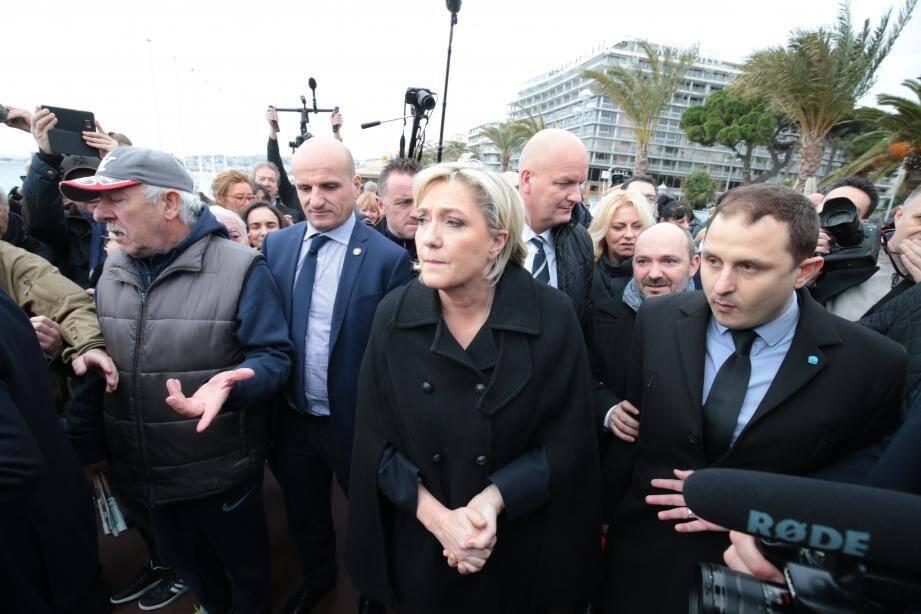 Marine Le Pen en visite à Nice.