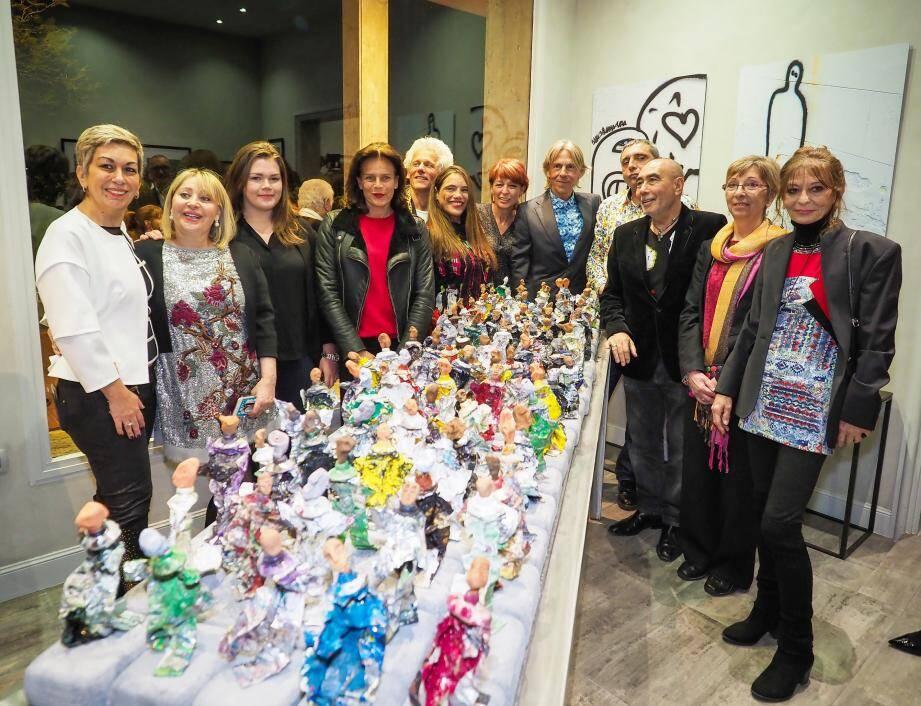 Venue avec sa fille Camille Gottlieb, la princesse Stéphanie, présidente de Fight Aids Monaco, a découvert hier soir les œuvres  réalisées par des affiliés de l'association et formant le projet Expositive.