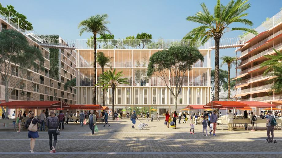 Le cœur du quartier: la place Méridia où seront installés commerces et services de proximité.