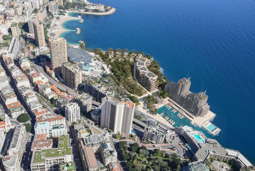 L'extension de six hectares est située au Larvotto entre le Grimaldi Forum et le tunnel Louis-II.