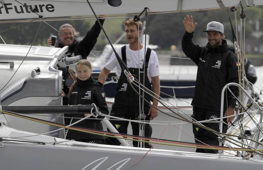 Greta Thunberg va traverser l'Atlantique aux côtés de son père Svante, du cinéaste Nathan Grossman, Pierre Casiraghi et Boris Hermmann.