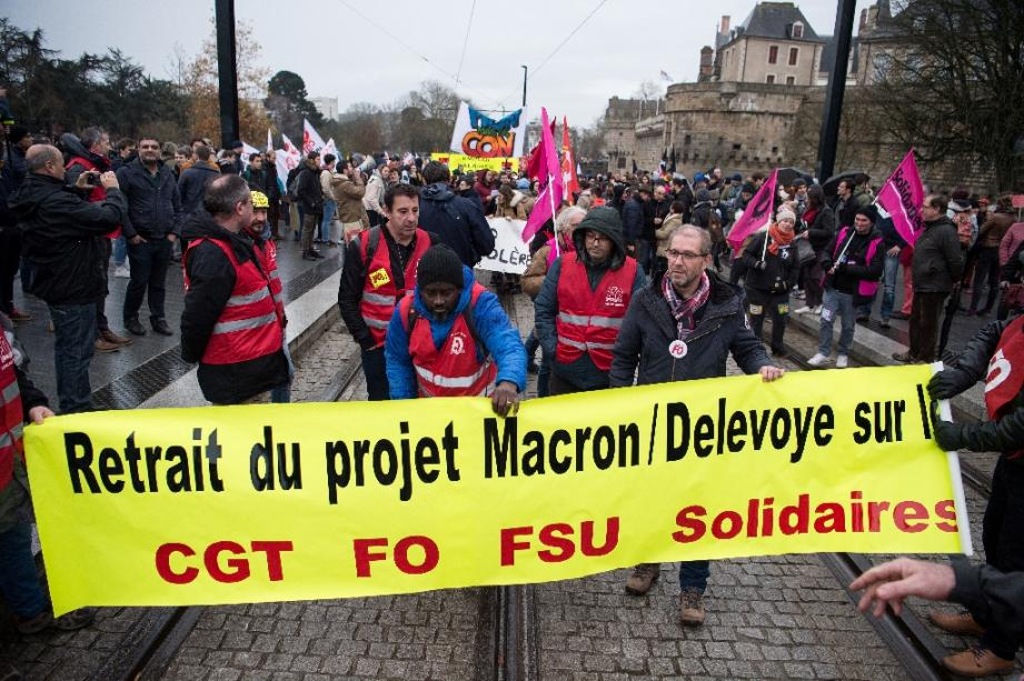 Manifestation contre la réforme des retraites, à Nantes,le 10 décembre 2019
