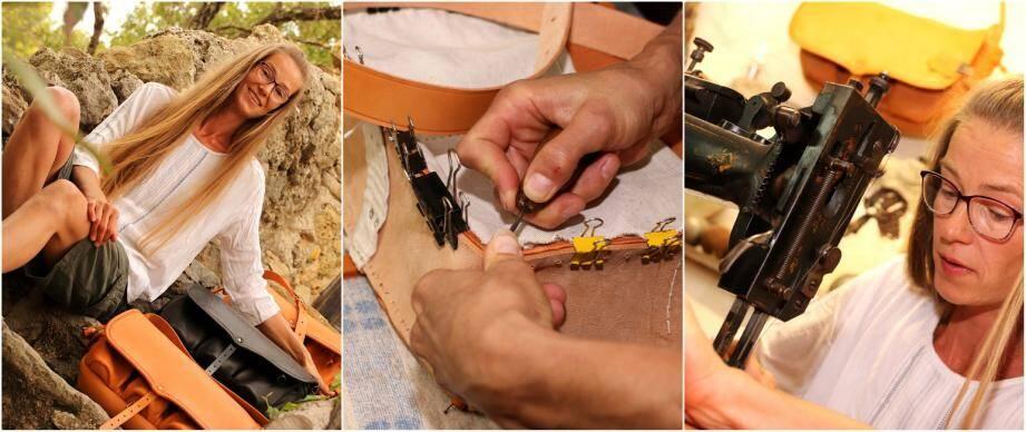 Arlette Fischer produit plus de 200 sacs par an et reproduit la méthode de fabrication ancestrale, en n'utilisant que du cuir de mouton.