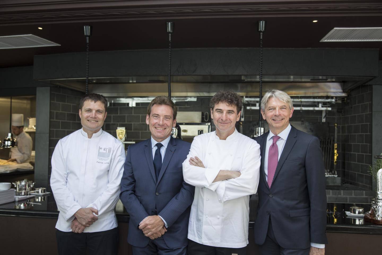 De gauche à droite, le chef Patrick Laine, Didier Boidin, directeur des opérations hôtelières de la SBM, Franck Cerutti, chef exécutif, et le directeur du palace, Ivan Artolli.