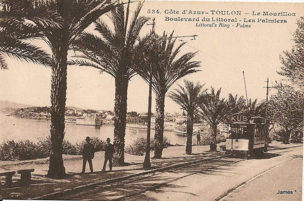 Le littoral du Mourillon où l'on se rendait en tramway au début du XXe siècle.