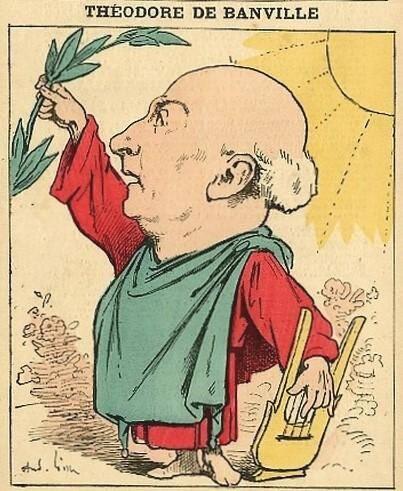 Caricature de Théodore de Banville vantant Nice.