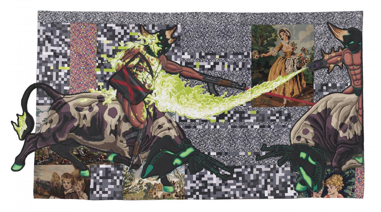 Lucien Murat joue sur la  juxtaposition d'images désuètes, un peu kitsch qui a fait le bonheur de nos mamies: paysages bucoliques, scènes de chasse à courre, chiots et amour courtois... tout y passe.
