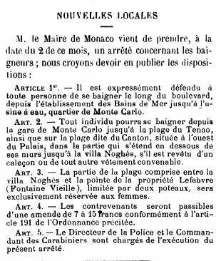 Journal de Monaco du 6 juillet 1880, publiant l'arrêté municipal du maire, le Comte Gastaldi.