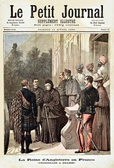La reine Victoria en visite chez le parfumeur Chiris à Grasse.Une information qui a fait la une du Petit Journal, magazine parisien lu dans toute la France, le 11 avril 1891.