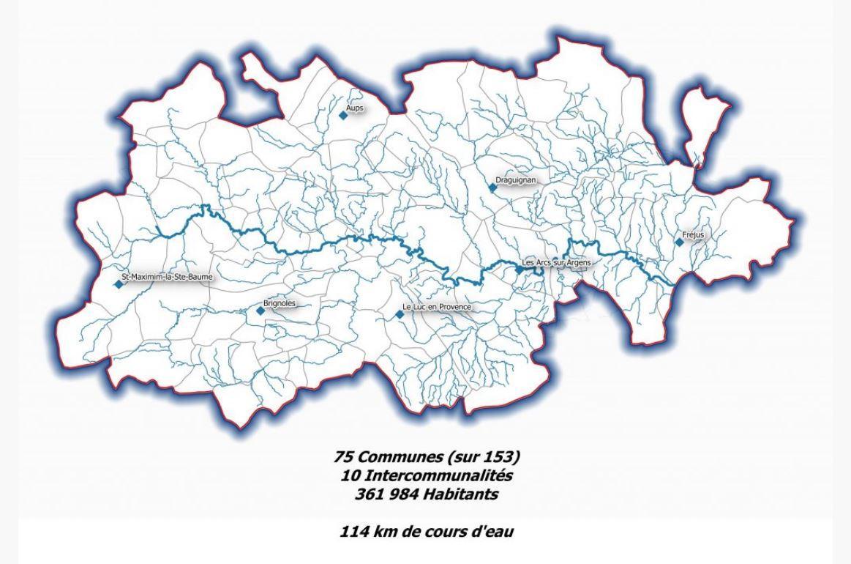 Le bassin versant de l'Argens et le périmètre du syndicat qui veille au grain