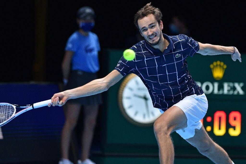 Daniil Medvedev pendant son match contre Rafael Nadal, le 21 novembre 2020 à Londres